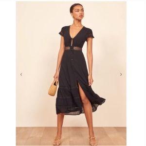 Reformation Garland Midi Dress in Black Size 0
